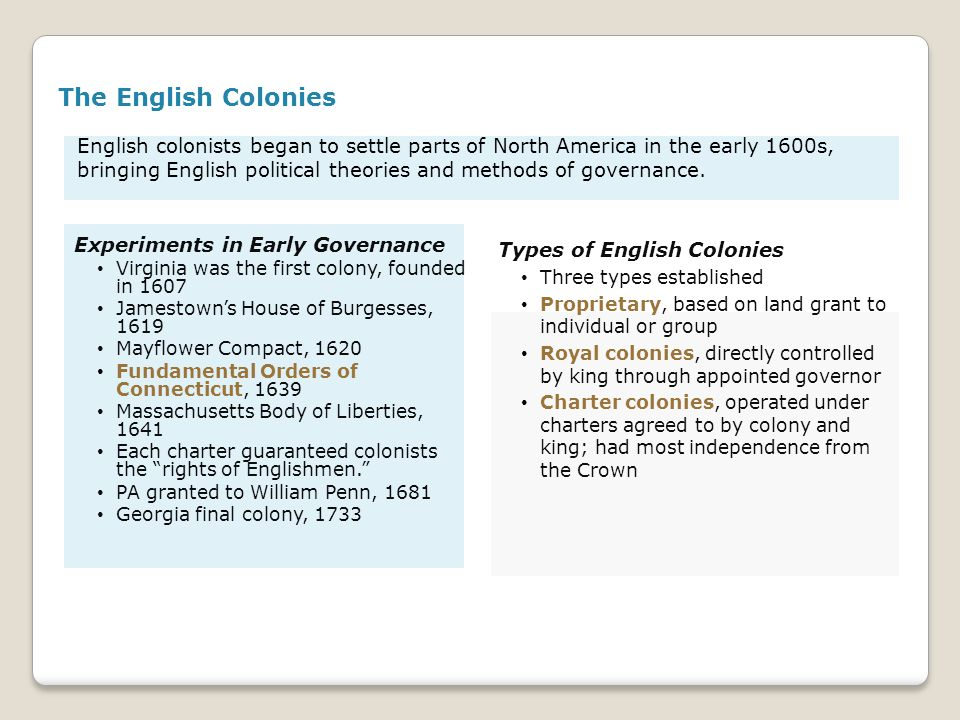 English colonists began to settle parts of North America in the early 1600s, bringing English political theories and methods of governance. The Englis