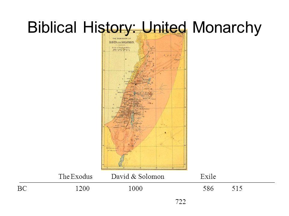 The ExodusDavid & Solomon BC12001000586 722 515 Exile Biblical History: United Monarchy