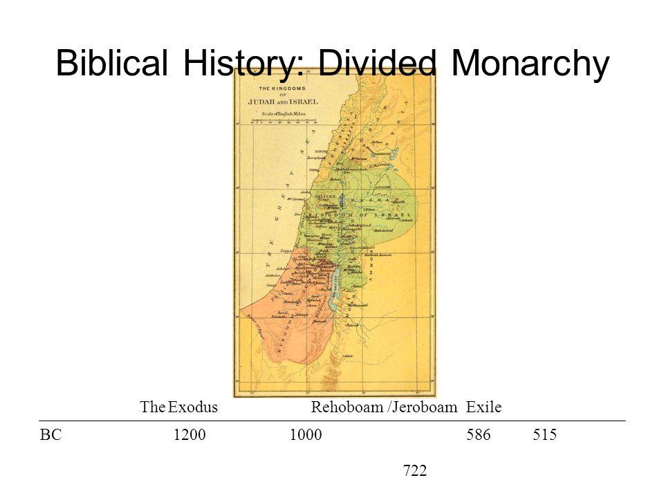 The ExodusRehoboam /Jeroboam BC12001000586 722 515 Exile Biblical History: Divided Monarchy