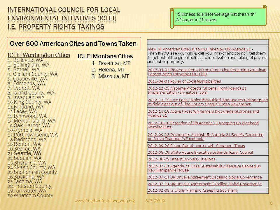 ICLEI Washington Cities 1. Bellevue, WA 2. Bellingham, WA 3. Bothell, WA 4. Clallam County, WA 5. Coupeville, WA 6. Edmonds, WA 7. Everett, WA 8. Isla