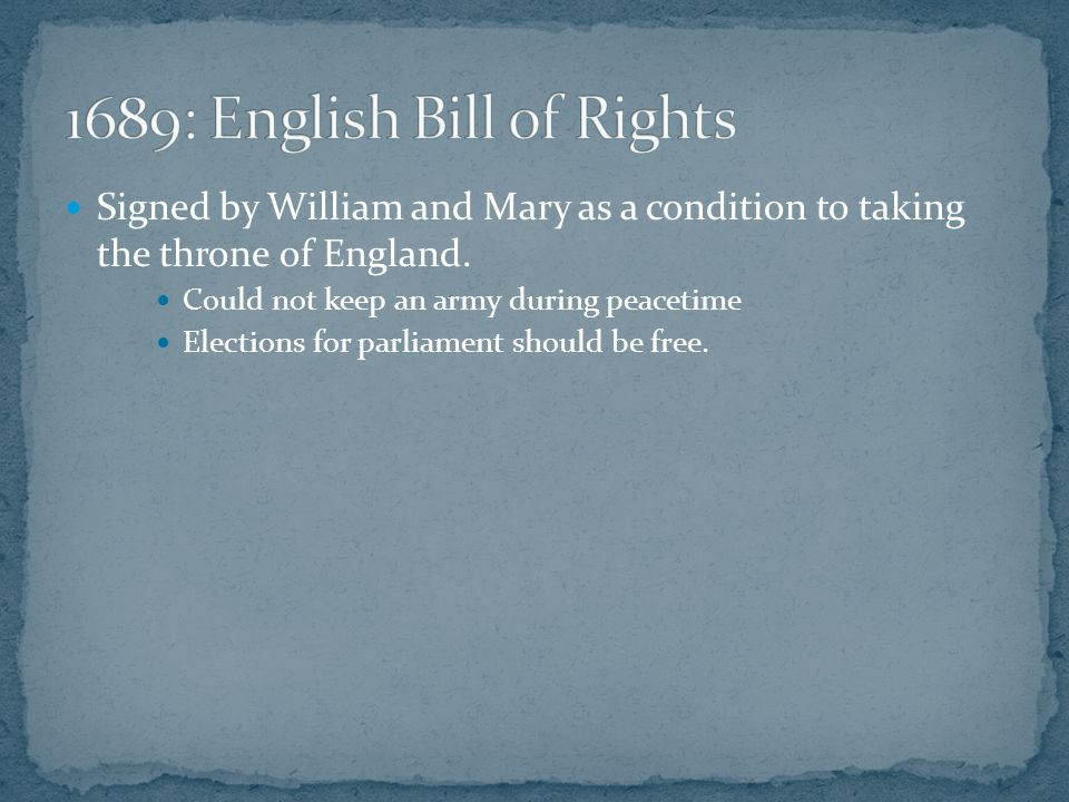 Signed by William and Mary as a condition to taking the throne of England.