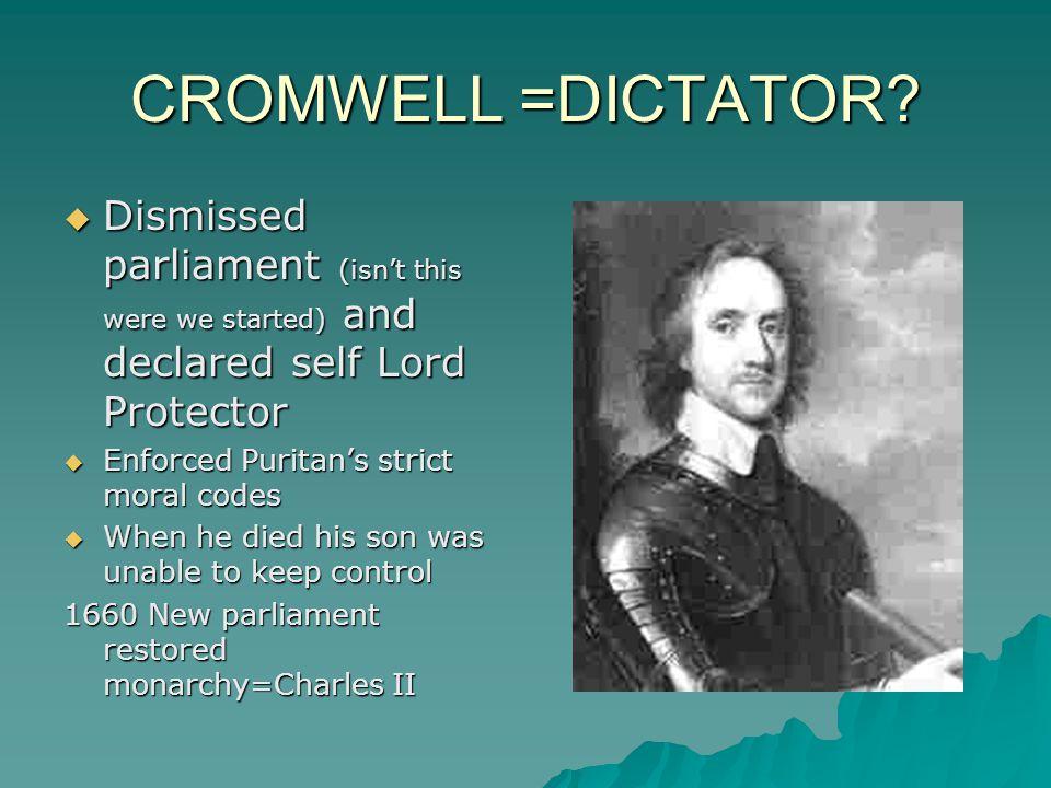 CROMWELL =DICTATOR.