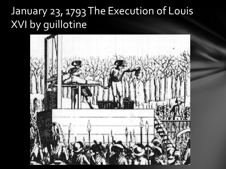 January 23, 1793 The Execution of Louis XVI by guillotine