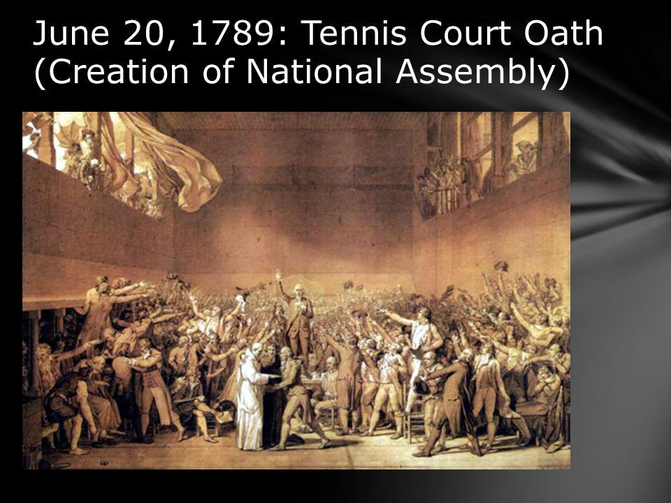 June 20, 1789: Tennis Court Oath (Creation of National Assembly)