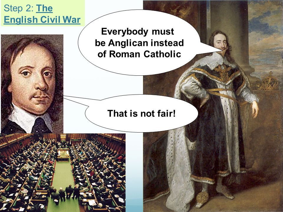 Everybody must be Anglican instead of Roman Catholic That is not fair! Step 2: The English Civil War