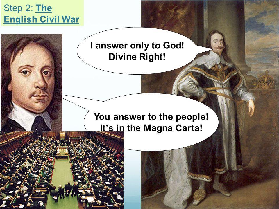 I answer only to God! Divine Right! You answer to the people! It's in the Magna Carta! Step 2: The English Civil War