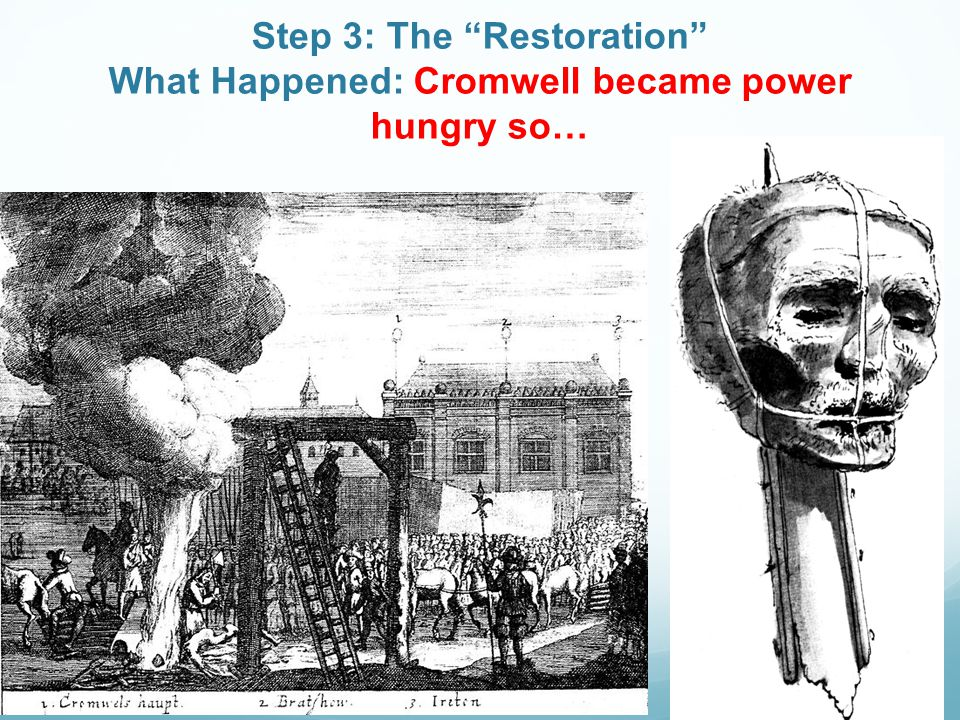 "Step 3: The ""Restoration"" What Happened: Cromwell became power hungry so…"