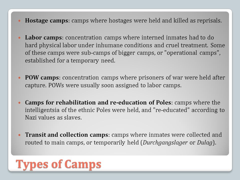 Types of Camps Hostage camps: camps where hostages were held and killed as reprisals. Labor camps: concentration camps where interned inmates had to d