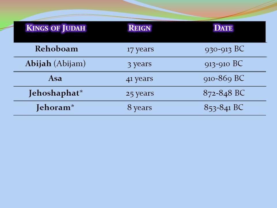 Rehoboam17 years930-913 BC Abijah (Abijam)3 years913-910 BC Asa41 years910-869 BC Jehoshaphat*25 years872-848 BC Jehoram*8 years853-841 BC