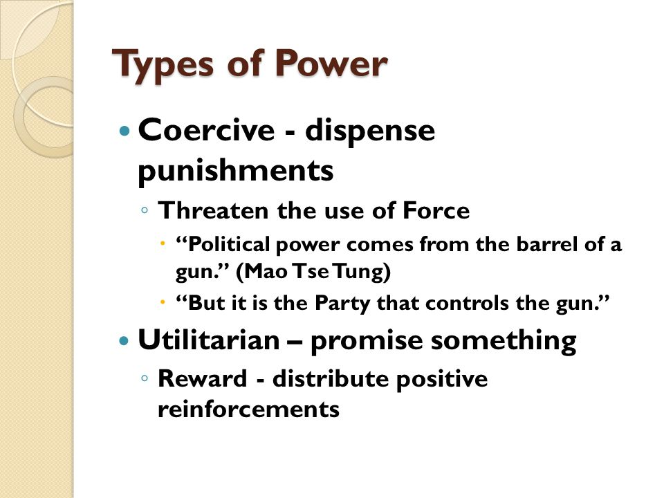 POLITICS & POWER Three Dimensions of Power ◦ 3 rd : The ability to shape or determine individual or group political demands by causing people to think about political issues in ways that are contrary to their own interests.