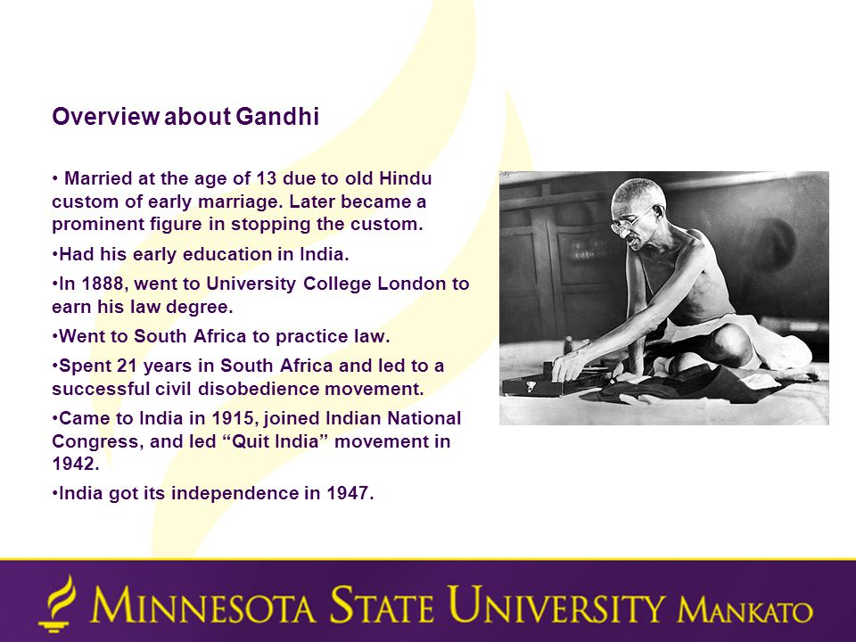 Overview about Gandhi Married at the age of 13 due to old Hindu custom of early marriage.