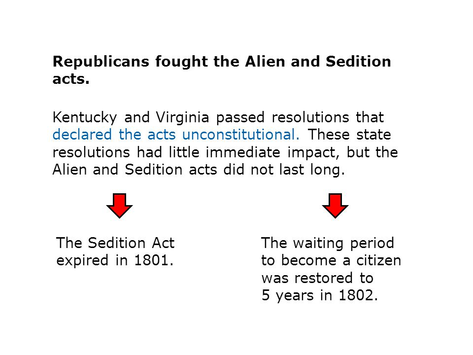 Republicans fought the Alien and Sedition acts.