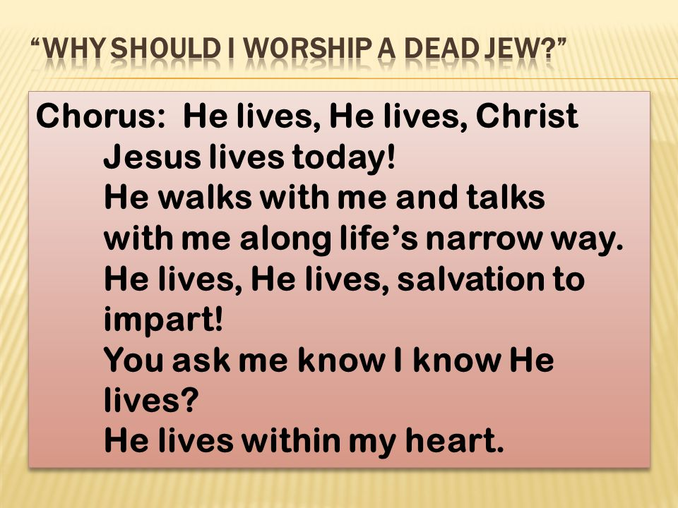 Chorus: He lives, He lives, Christ Jesus lives today! He walks with me and talks with me along life's narrow way. He lives, He lives, salvation to imp