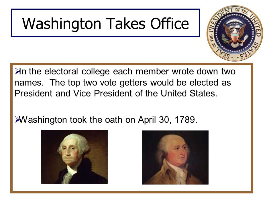 Washington Takes Office  In the electoral college each member wrote down two names.