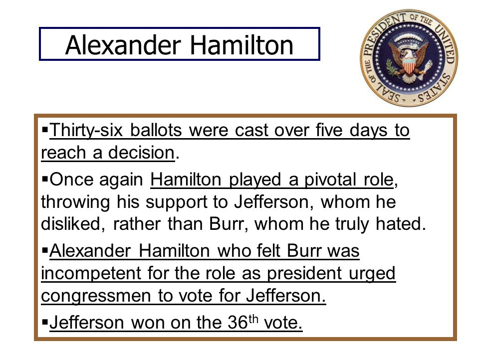 Alexander Hamilton  Thirty-six ballots were cast over five days to reach a decision.