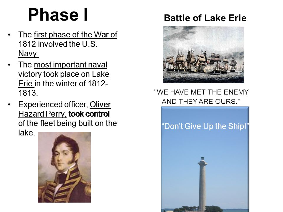 Phase I The first phase of the War of 1812 involved the U.S.