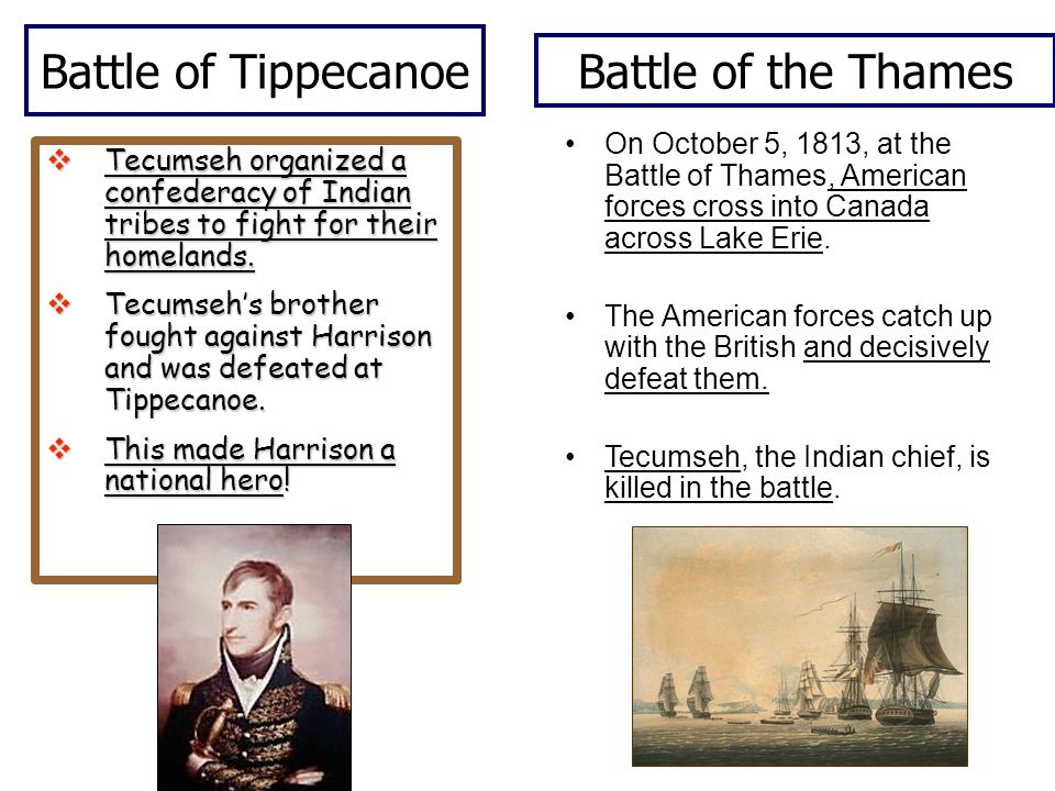 Battle of Tippecanoe  Tecumseh organized a confederacy of Indian tribes to fight for their homelands.