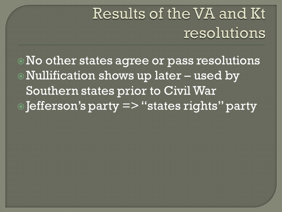  By 1800 – there are two distinct Parties  The Federalists are led by Hamilton  The D-R are led by Jefferson  In general, Federalists were:  Wealthy, snooty, from the NE, Pro-British and wanted a strong Fed govt and rule by the best people  In General, DRs were;  Rural, common men, pro-French, states righters, and wanted more men to vote