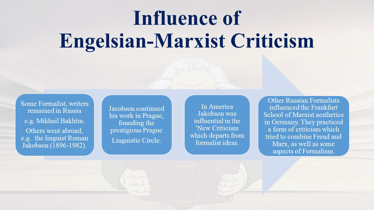 Influence of Engelsian-Marxist Criticism Some Formalist, writers remained in Russia e.g.