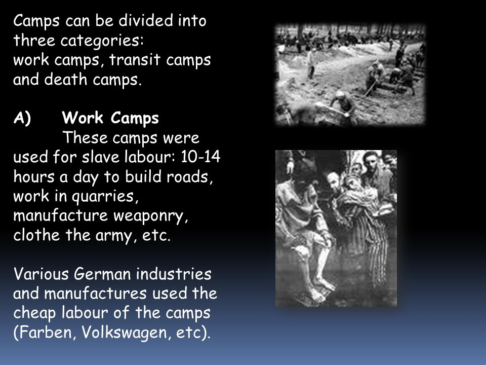 Concentration Camps  In 1933 the first concentration camps were established by the Nazis to imprison political opponents.