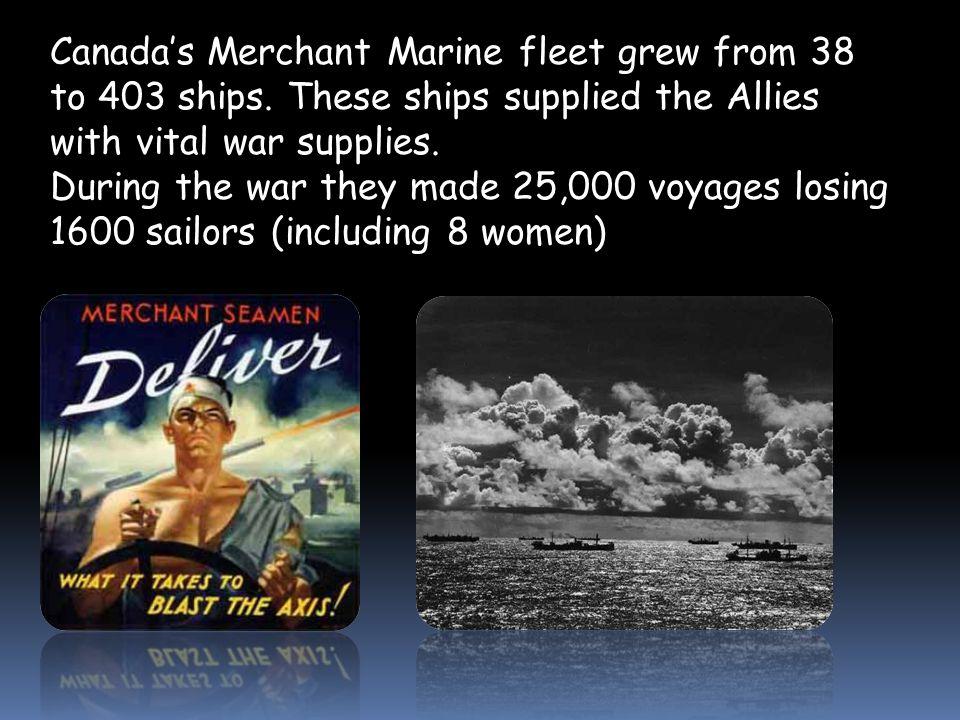 Canada's Merchant Marine fleet grew from 38 to 403 ships.