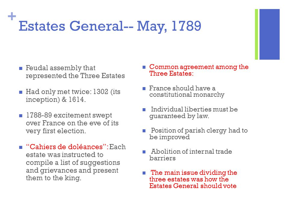 + Estates General-- May, 1789 Feudal assembly that represented the Three Estates Had only met twice: 1302 (its inception) & 1614. 1788-89 excitement s