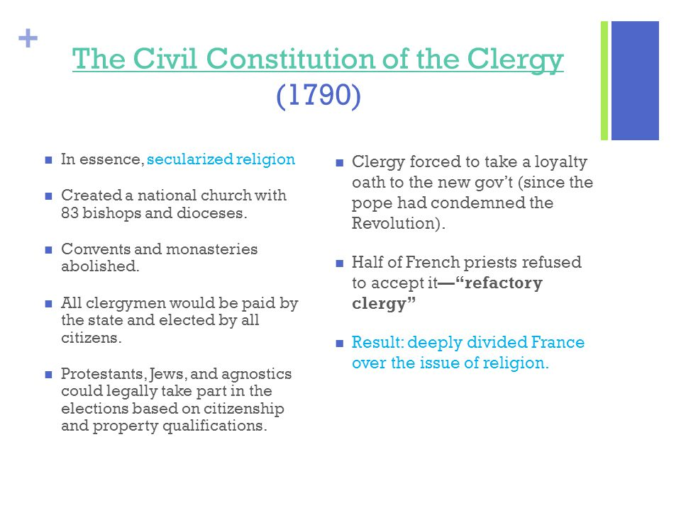 + The Civil Constitution of the Clergy The Civil Constitution of the Clergy (1790) In essence, secularized religion Created a national church with 83