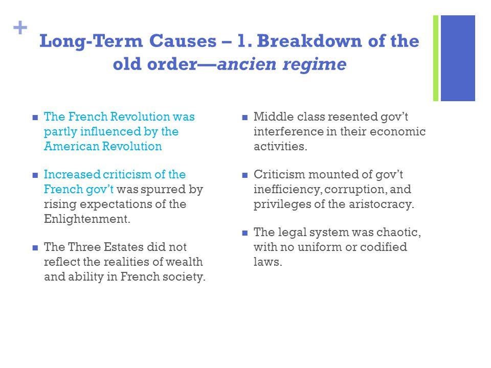 + Long-Term Causes – 1. Breakdown of the old order—ancien regime The French Revolution was partly influenced by the American Revolution Increased crit