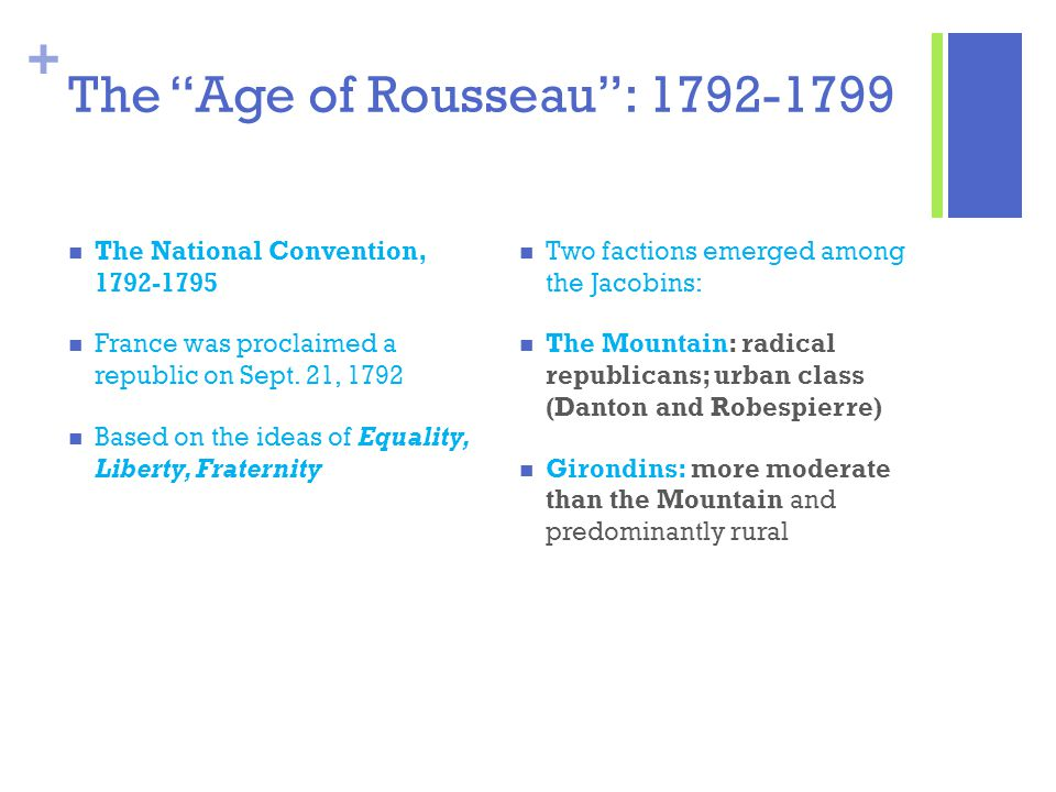 """+ The """"Age of Rousseau"""": 1792-1799 The National Convention, 1792-1795 France was proclaimed a republic on Sept. 21, 1792 Based on the ideas of Equalit"""