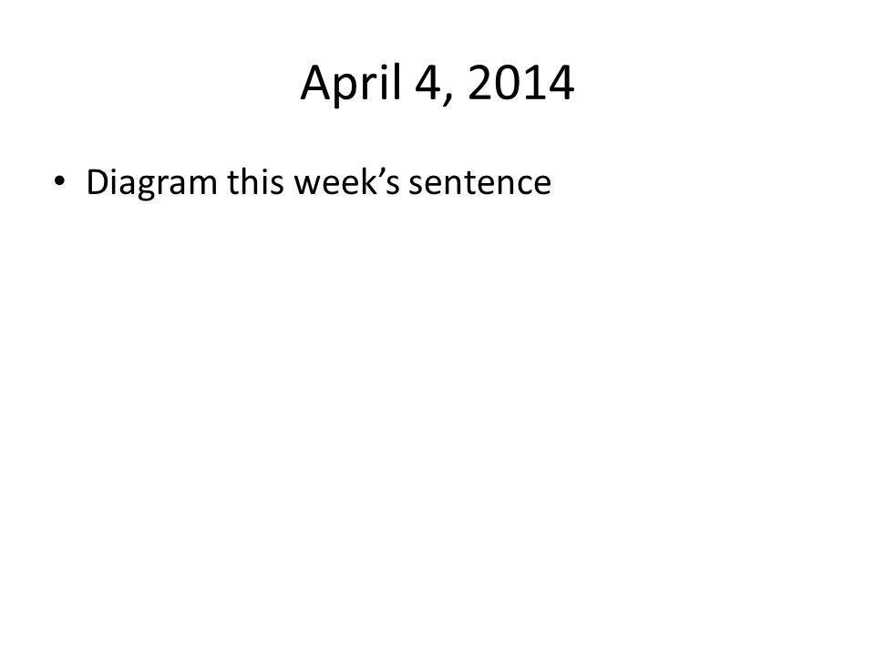 April 4, 2014 Diagram this week's sentence