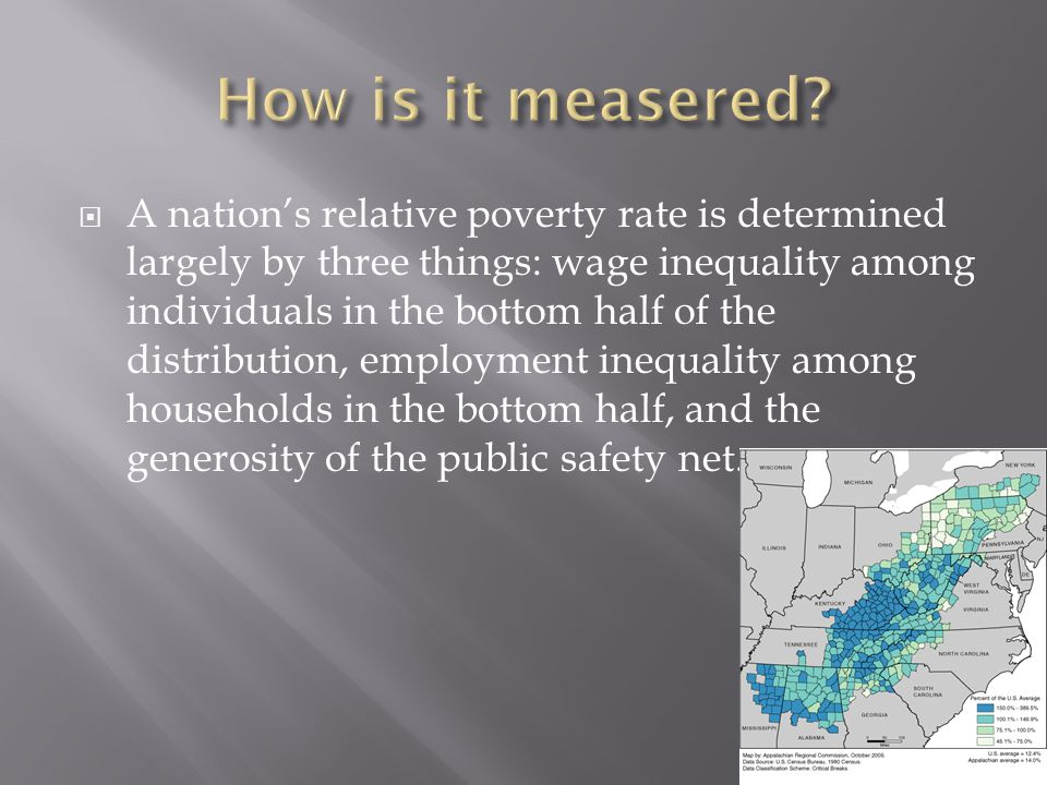  A nation's relative poverty rate is determined largely by three things: wage inequality among individuals in the bottom half of the distribution, em