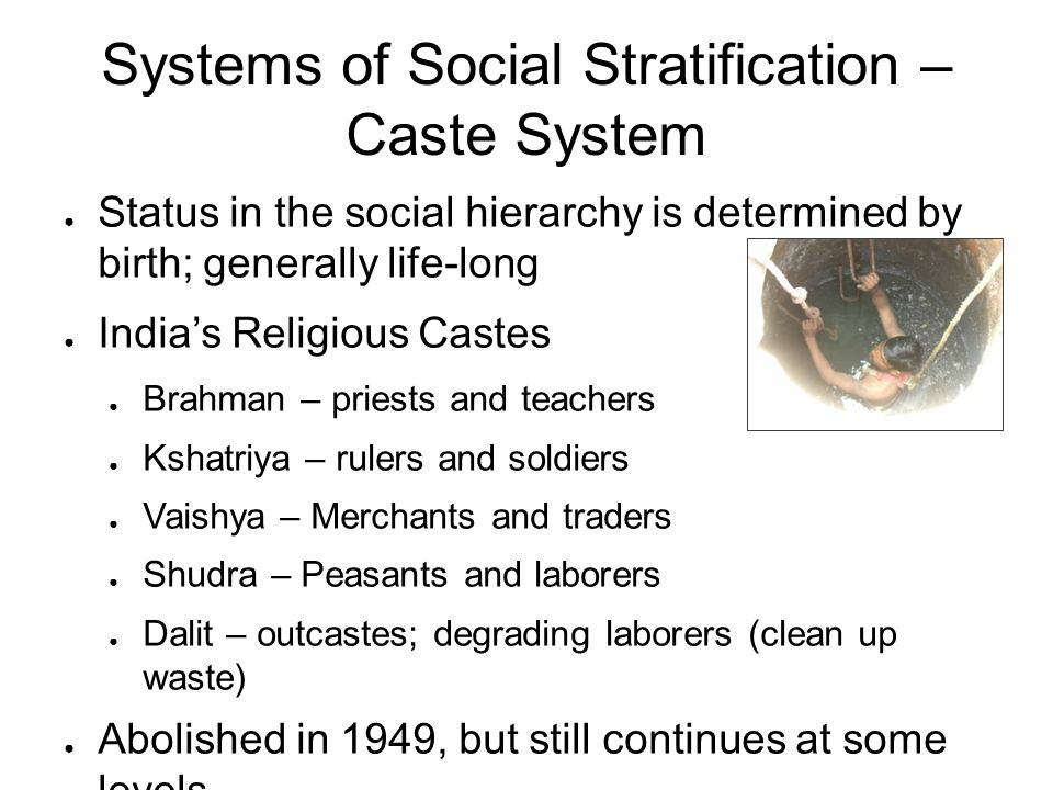 Systems of Social Stratification – Caste System ● Status in the social hierarchy is determined by birth; generally life-long ● India's Religious Caste