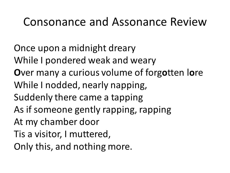 Consonance and Assonance Review Once upon a midnight dreary While I pondered weak and weary Over many a curious volume of forgotten lore While I nodde