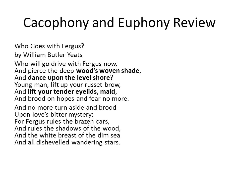 Cacophony and Euphony Review Who Goes with Fergus.