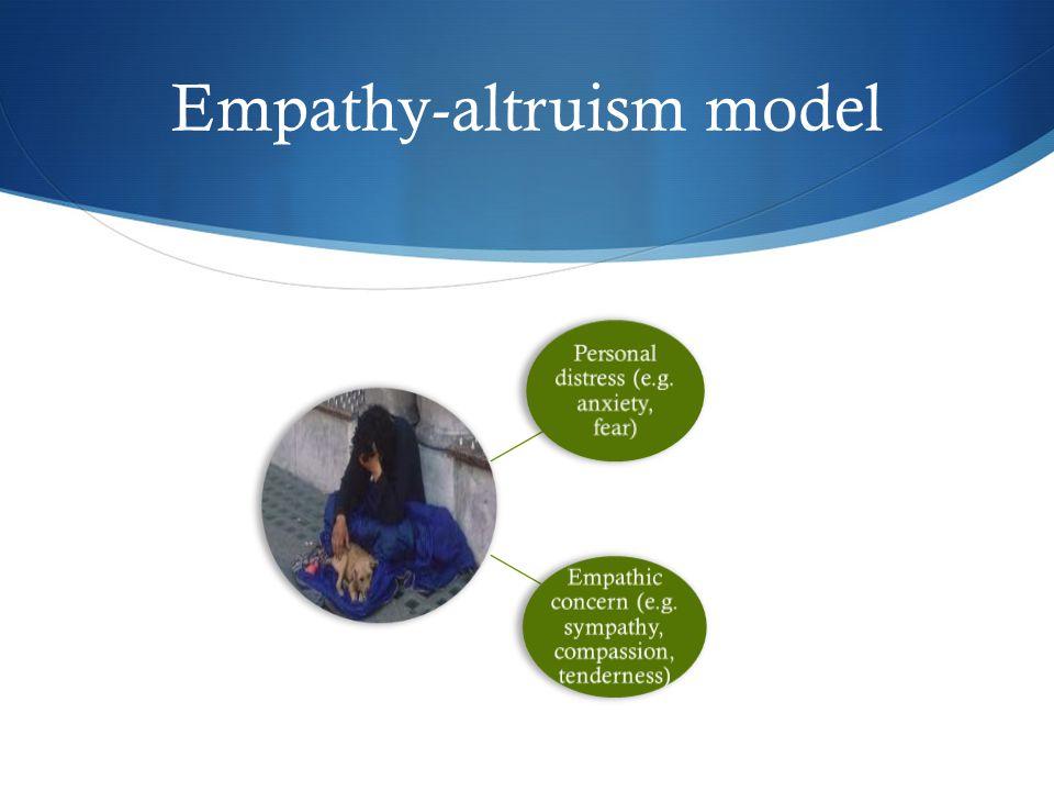 Empathy-altruism model Personal distress (e.g.anxiety, fear) Empathic concern (e.g.