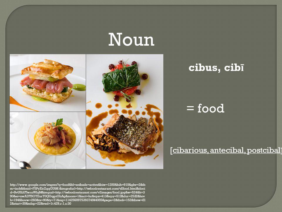Noun http://www.google.com/imgres q=food&hl=en&safe=active&biw=1280&bih=918&gbv=2&tb m=isch&tbnid=F5PyXtrZqqGUtM:&imgrefurl=http://twfoodrestaurant.com/v2food.html&doci d=SvU5LUTwraWbjM&imgurl=http://twfoodrestaurant.com/v2images/food.jpg&w=524&h=3 90&ei=zwADT8OYEurY0QGqgcGbAg&zoom=1&iact=hc&vpx=413&vpy=512&dur=2532&hov h=194&hovw=260&tx=90&ty=71&sig=114256897539374844085&page=2&tbnh=152&tbnw=21 2&start=30&ndsp=22&ved=1t:429,r:1,s:30 cibus, cib ī = food [cibarious, antecibal, postcibal ]
