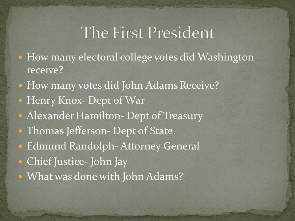 How many electoral college votes did Washington receive? How many votes did John Adams Receive? Henry Knox- Dept of War Alexander Hamilton- Dept of Tr