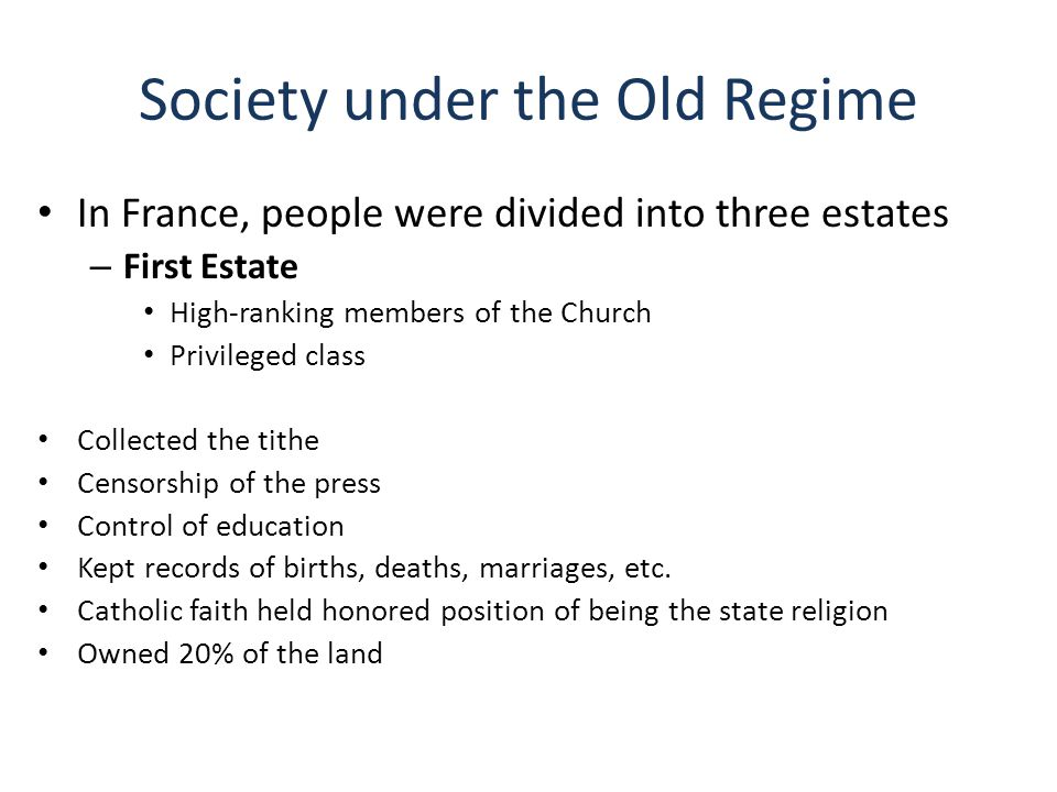 First Estate continued Paid no taxes Subject to Church law rather than civil law Moral obligation to assist the poor and needy Support the monarchy and Old Regime