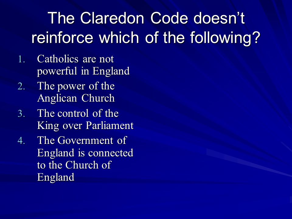 The Claredon Code doesn't reinforce which of the following.