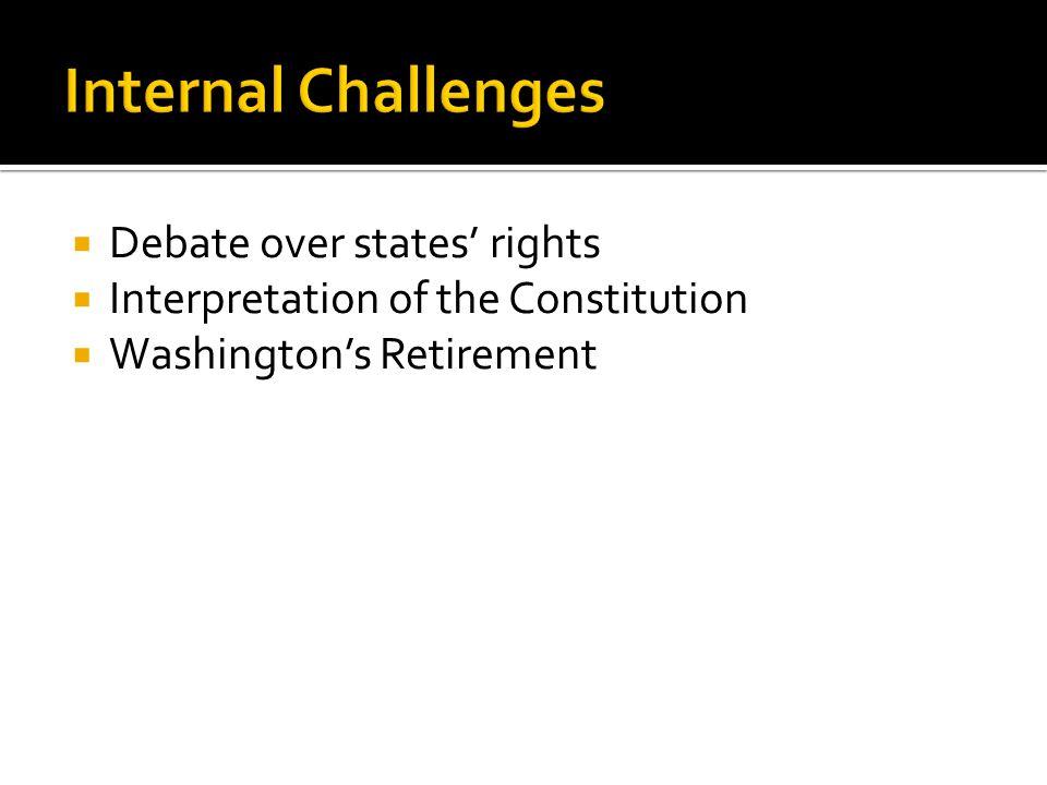  Debate over states' rights  Interpretation of the Constitution  Washington's Retirement