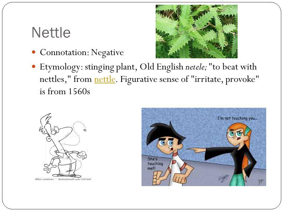 Nettle Connotation: Negative Etymology: stinging plant, Old English netele; to beat with nettles, from nettle.