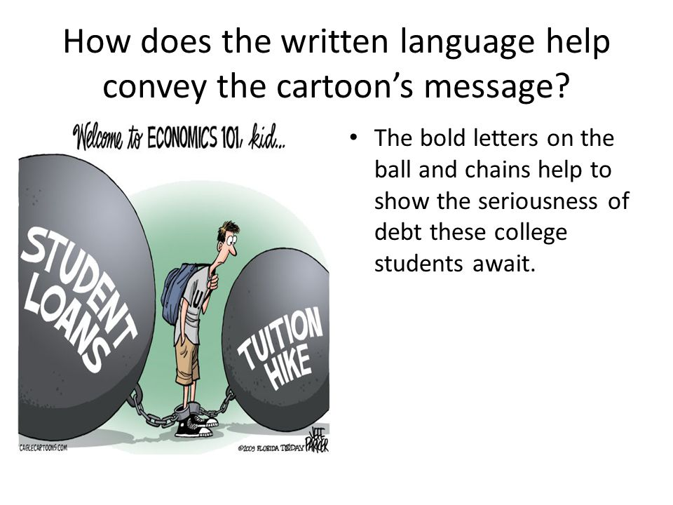 The bold letters on the ball and chains help to show the seriousness of debt these college students await.