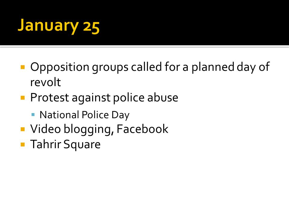  Opposition groups called for a planned day of revolt  Protest against police abuse  National Police Day  Video blogging, Facebook  Tahrir Square