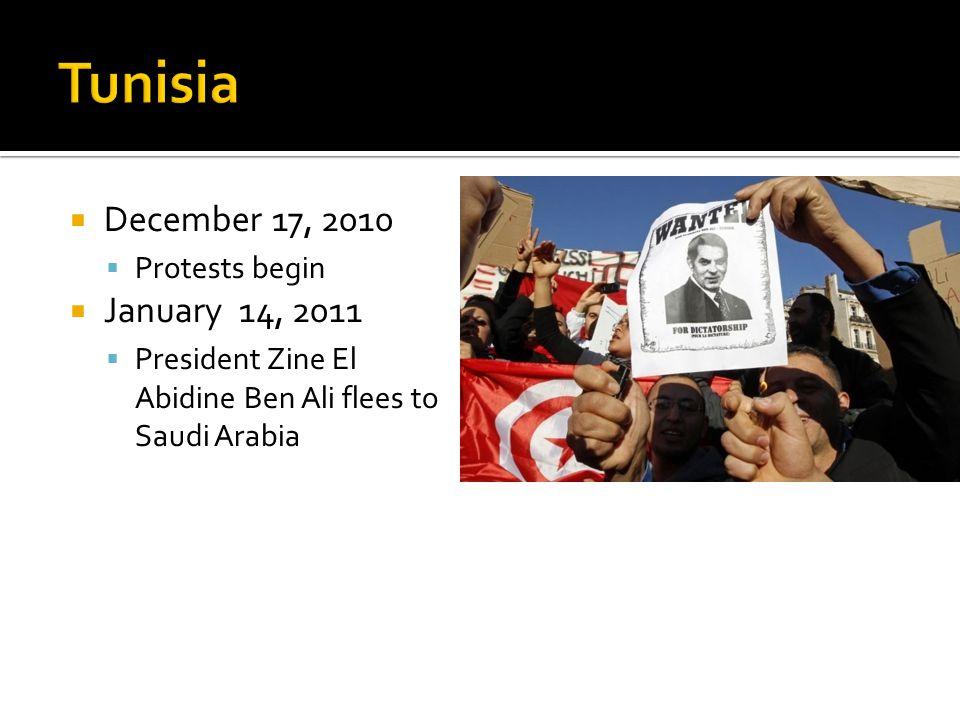  December 17, 2010  Protests begin  January 14, 2011  President Zine El Abidine Ben Ali flees to Saudi Arabia