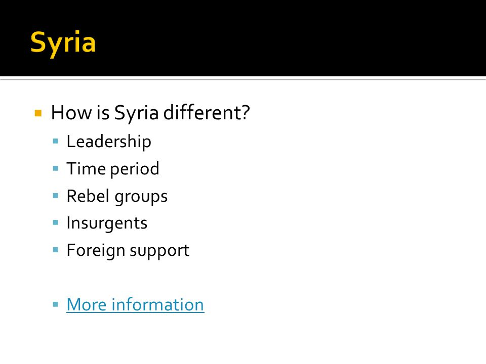  How is Syria different.