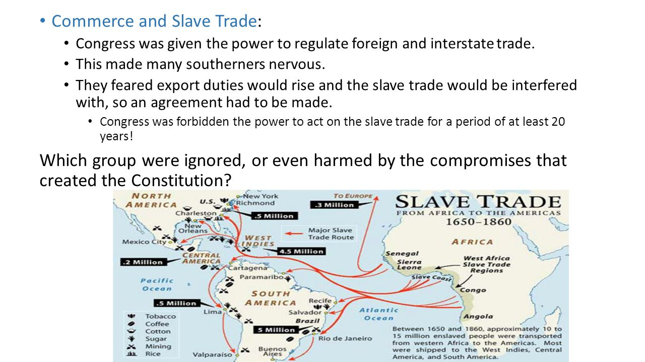 Commerce and Slave Trade: Congress was given the power to regulate foreign and interstate trade. This made many southerners nervous. They feared expor