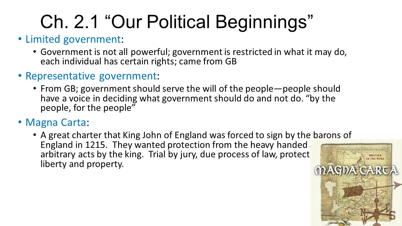 "Ch. 2.1 ""Our Political Beginnings"" Limited government: Government is not all powerful; government is restricted in what it may do, each individual has"