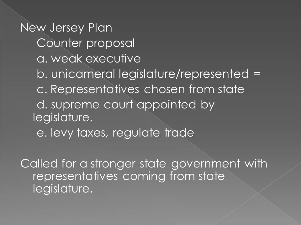 New Jersey Plan Counter proposal a. weak executive b.