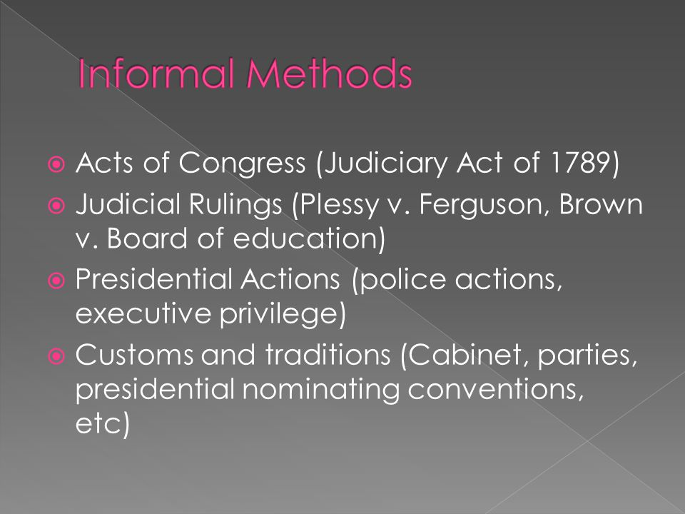  Acts of Congress (Judiciary Act of 1789)  Judicial Rulings (Plessy v.