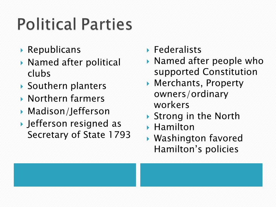  Republicans  Named after political clubs  Southern planters  Northern farmers  Madison/Jefferson  Jefferson resigned as Secretary of State 1793  Federalists  Named after people who supported Constitution  Merchants, Property owners/ordinary workers  Strong in the North  Hamilton  Washington favored Hamilton's policies